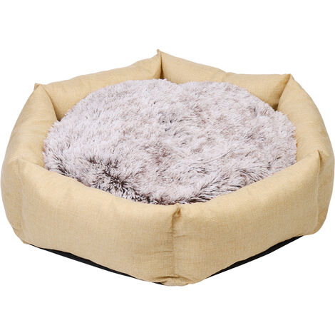 BingoPaw Deluxe Dog Bed Pet Large Round Cuddler Calming Nest 2 Side Soft Cushion,Beige L 100 x 19 cm