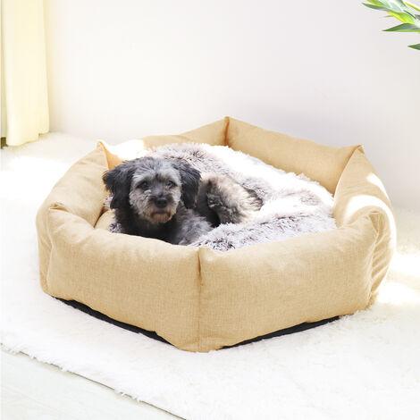 BingoPaw Deluxe Dog Bed Pet Large Round Cuddler Calming Nest 2 Side Soft Cushion,Beige M 80 x 18 cm