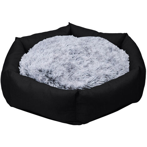 BingoPaw Deluxe Dog Bed Pet Large Round Cuddler Calming Nest 2 Side Soft Cushion,Black L 100 x 19 cm