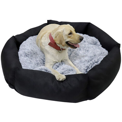 BingoPaw Deluxe Dog Bed Pet Large Round Cuddler Calming Nest 2 Side Soft Cushion,Black XL 120 x 21 cm