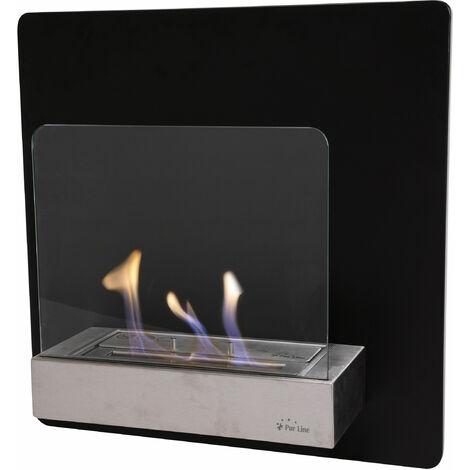Bio cheminée murale en acier avec flamme réglable et verre trempé à l'avant