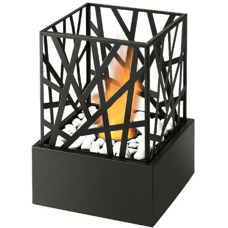 Bio Ethanol Nest Effect Black Fireplace Tabletop Firebox Burner Freestanding