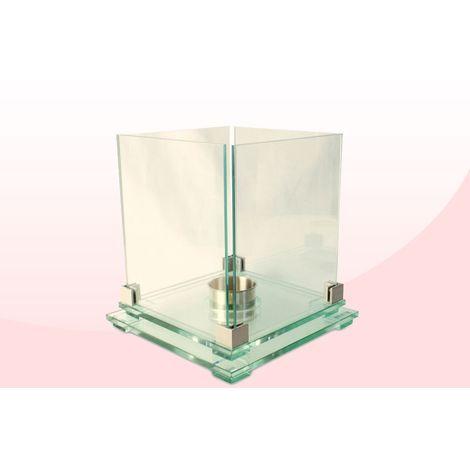 Biochimenea de cristal con base doble cuadrada