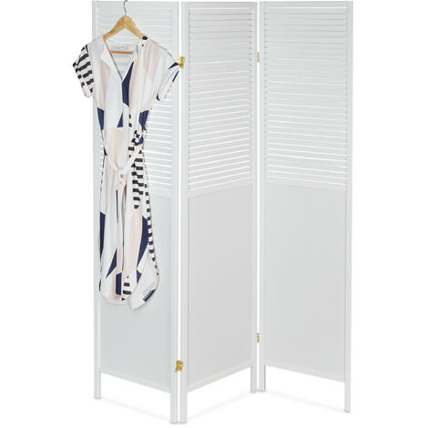 Biombo, 176 x 132 cm, Separador Ambientes, Plegable, Lamas madera, 3 Paneles, Divisor, Persianas, MDF, Blanco