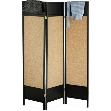 Biombo 3 Paneles, de Pie, Mampara, Separador Ambientes Plegable, 179 x 132 cm, Madera, Papel, Negro y Marrón