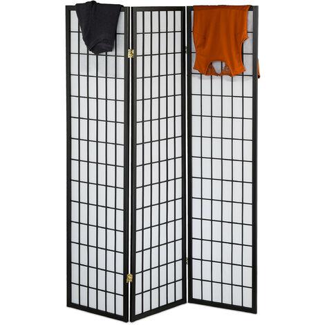 Biombo, 3 Paneles, Separador Ambientes de Pie, 179 x 132 cm, Divisor Espacios Plegable, Madera, Blanco/Negro