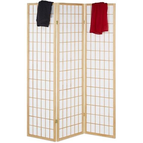 Biombo, 3 Paneles, Separador Ambientes de Pie, 179 x 132 cm, Divisor Espacios Plegable, Madera, Marrón/Blanco