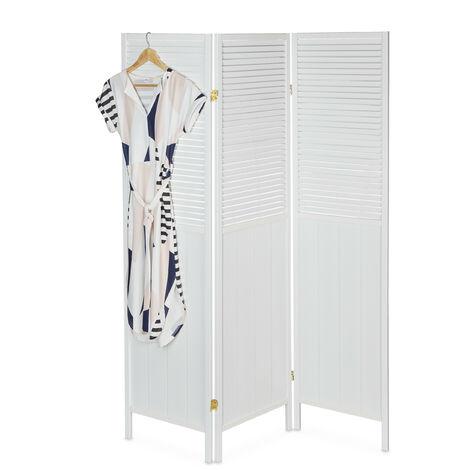 Biombo, 3 Paneles, Separador Ambientes Plegable, 176x132, Divisor, Lamas, Persiana, Alto, Madera, MDF, Blanco