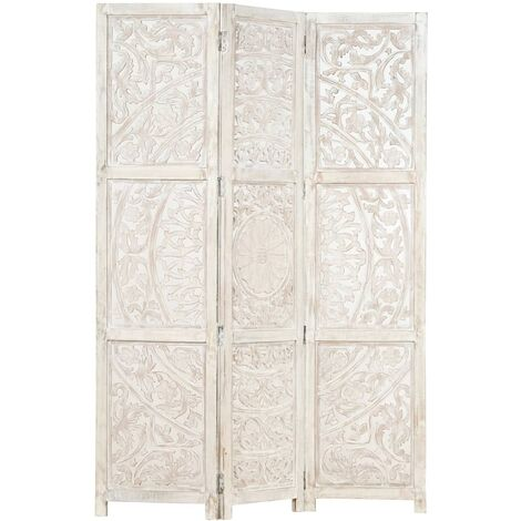 Biombo 3 paneles tallado a mano madera mango blanco 120x165 cm - Blanco