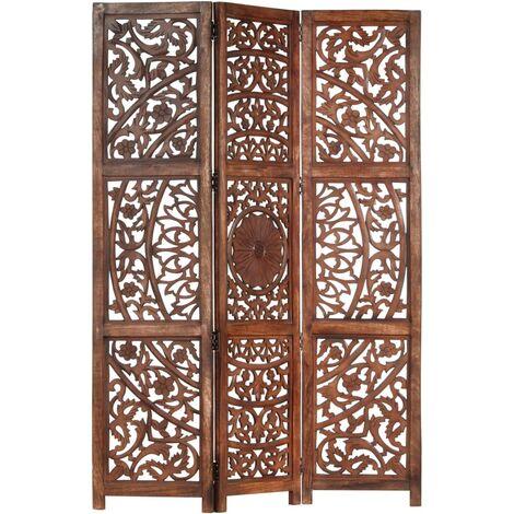 Biombo 3 paneles tallado a mano madera mango marrón 120x165 cm - Marrón