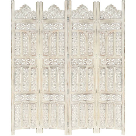 Biombo 4 paneles tallado a mano madera mango blanco 160x165 cm