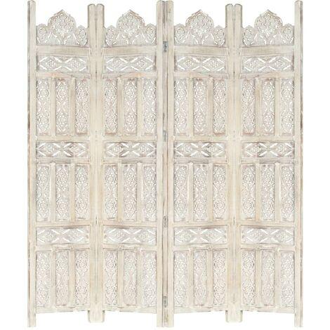 Biombo 4 paneles tallado a mano madera mango blanco 160x165 cm - Blanco