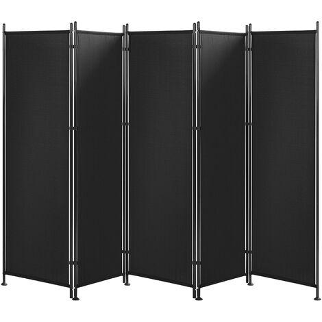 Biombo 5 paneles negro 270 x 170 cm NARNI