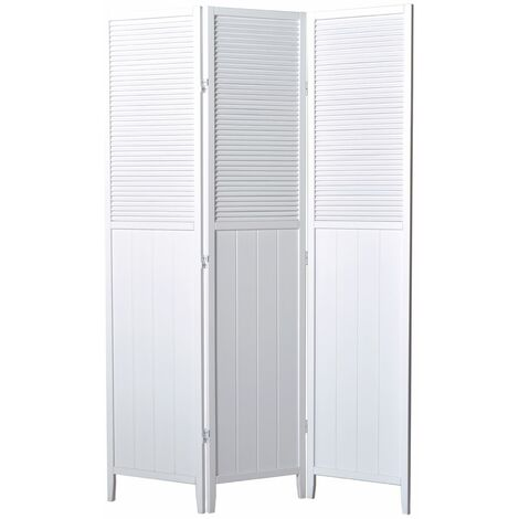 Biombo Atractivo semi Persiana madera blanco 3 paneles - Dim : A 178,6cm