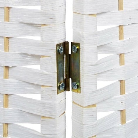 Biombo Blanco Bambú Natural 180 cm, Biombo Separador de Ambientes/ Vestidor. 3 Paneles 180x135 cm