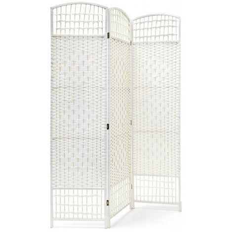 Biombo Blanco Country Bambú Natural 170 cm, Biombo Separador de Ambientes/ Vestidor.3 Paneles 170x120cm Modelo - 3 paneles