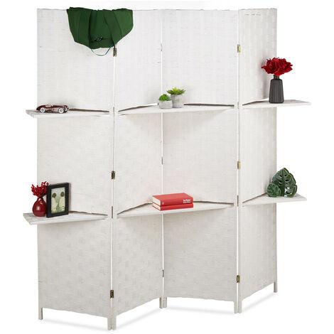 Biombo con estantes, Separador plegable, Protección de privacidad, 180x170x39 cm, 1 Ud., Blanco