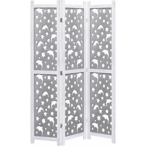 Biombo de 3 paneles madera maciza gris 105x165 cm