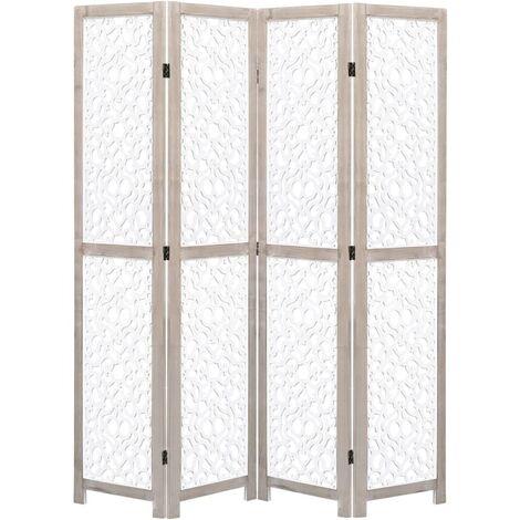 Biombo de 4 paneles de madera maciza blanco 140x165 cm