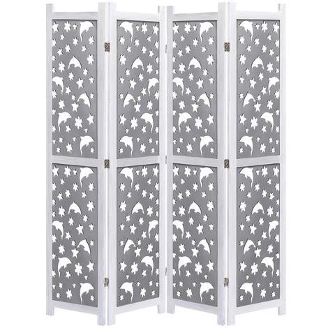 Biombo de 4 paneles de madera maciza gris 140x165 cm