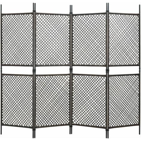 Biombo de 4 paneles de ratan sintetico marron 240x200 cm