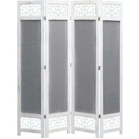 Biombo de 4 paneles de tela gris 140x165 cm