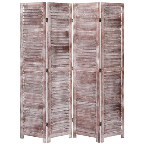 Biombo de 4 paneles madera marron 140x165 cm
