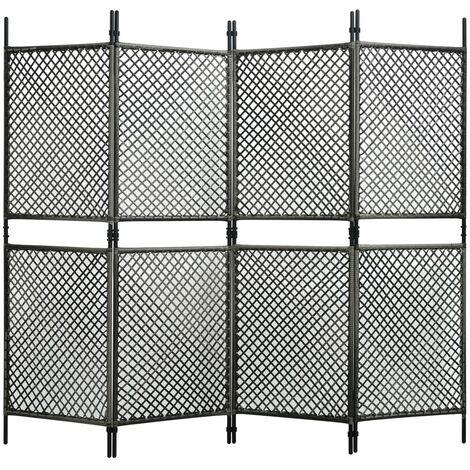 Biombo de 4 paneles ratan sintetico gris antracita 240x200 cm
