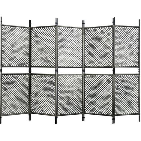 Biombo de 5 paneles ratan sintetico gris antracita 300x200 cm