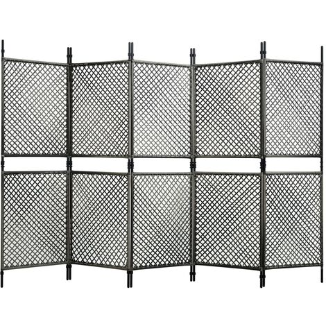 Biombo de 5 paneles ratán sintético gris antracita 300x200 cm - Antracita