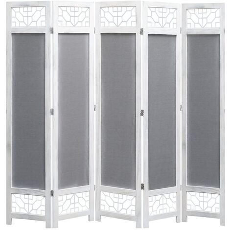 Biombo de 5 paneles tela gris 175x165 cm