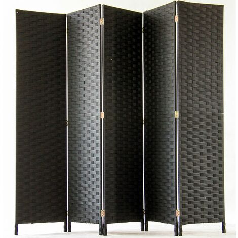Biombo de 5 paneles Trenzado de fibras sintéticas, color negro - Dim : H170 x 200cm