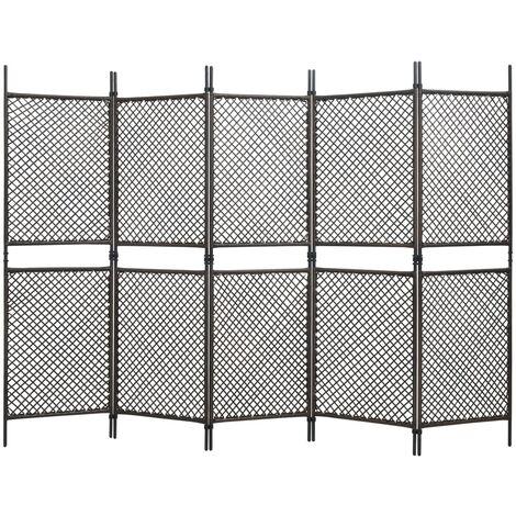 Biombo de 6 paneles ratán sintético marrón 300x200 cm - Marrón
