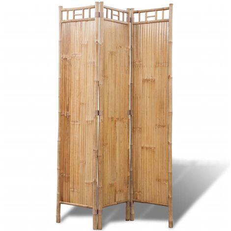 Biombo de Bambú de 3 Paneles - Marrón