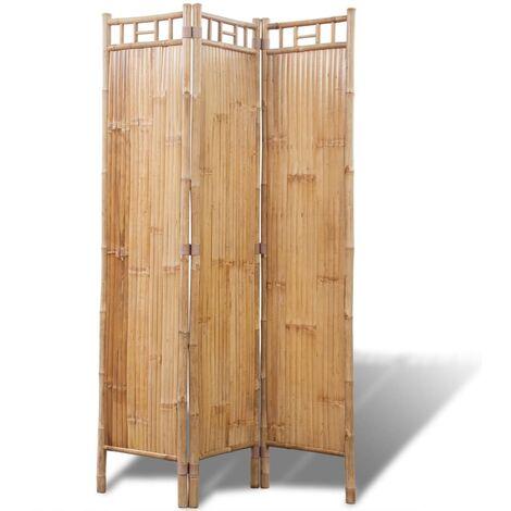 Biombo de Bambú de 3 Paneles - Marrone