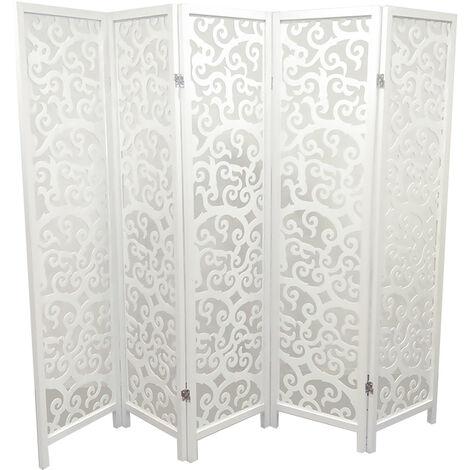 Biombo de madera blanco de 5 paneles, 175 x 215 x 2.2 cm