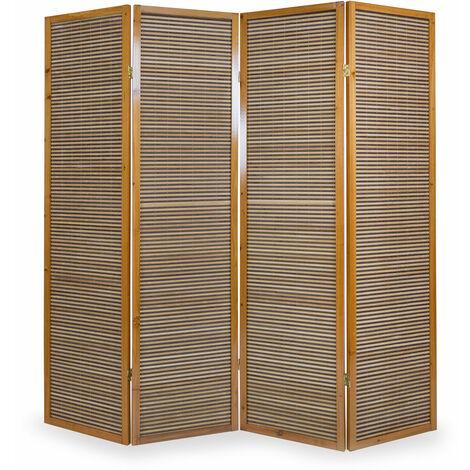 Biombo de madera castaño con bambú de 4 paneles