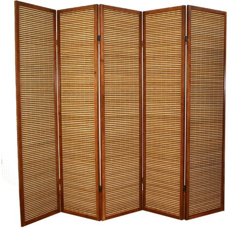 Biombo de madera castaño con bambú de 5 paneles