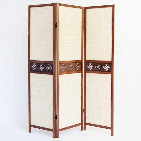 Biombo de madera color castaño con tejido de guarnición y bambú de 3 paneles
