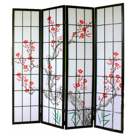Biombo de madera con flor de cerezo color negro 4 paneles