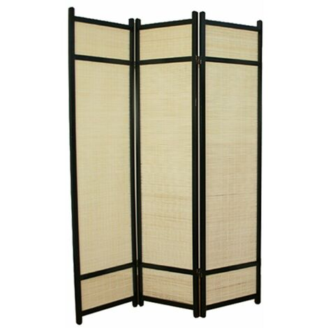Biombo de madera negro con bambú 3 paneles