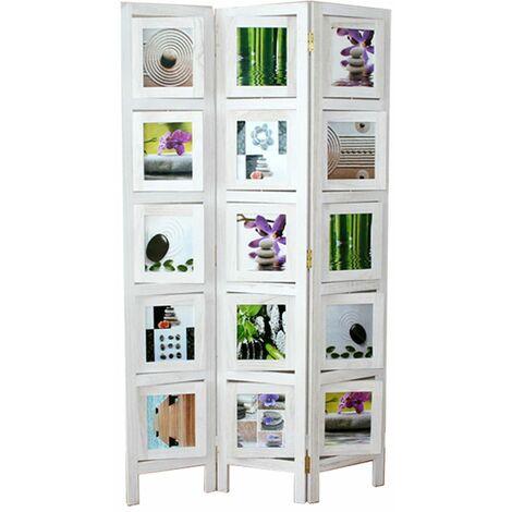 Biombo de madera y Bambú color blanco Foto Wall de 3 paneles