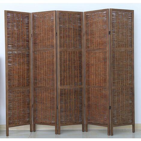 Biombo de madera y mimbre de 5 paneles, color marrón - Dim : A 170 x A 200 cm