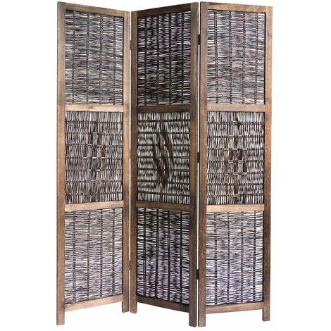 Biombo de Mimbre Castaño de 3 paneles, A170 x A120 x P2 cm