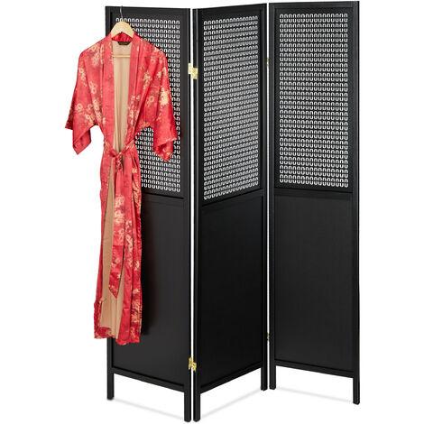 Biombo Decorativo, 179x132 cm, Separador Ambientes Plegable, Mampara, Panel Separación, Madera, MDF, Negro