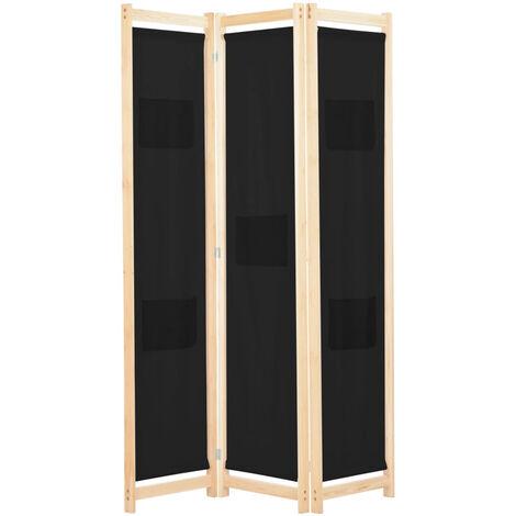 Biombo divisor 3 paneles de tela negro 120x170x4 cm