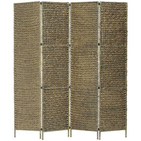 Biombo divisor 4 paneles jacinto de agua marron 154x160 cm
