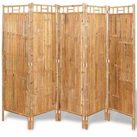 Biombo divisor 5 paneles bambu 200x160 cm