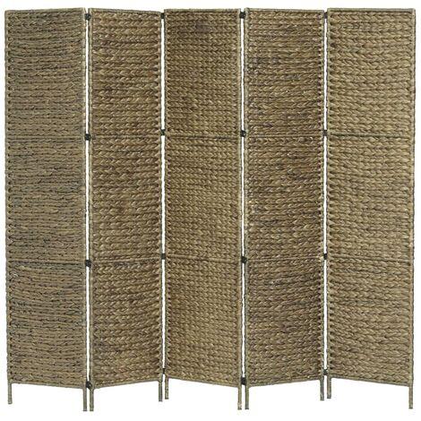 Biombo divisor 5 paneles jacinto de agua marrón 193x160 cm