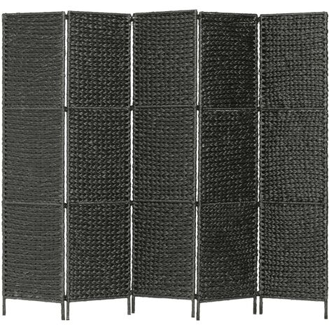 Biombo divisor 5 paneles jacinto de agua negro 193x160 cm